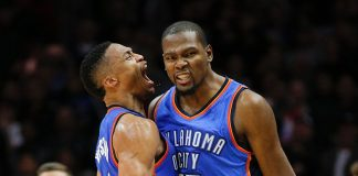 kevin durant and russell westbrook thunder clap takes game 1 from warriors 2016 images