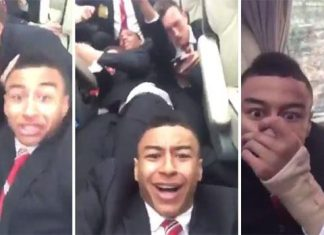 manchester united players react to fans attacking bus