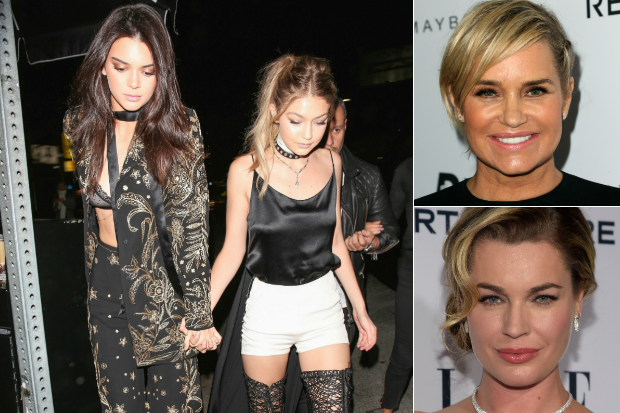 Justin Bieber buzzed and Rebecca Romijn vs RHOBH Yolanda Foster 2016 images collage