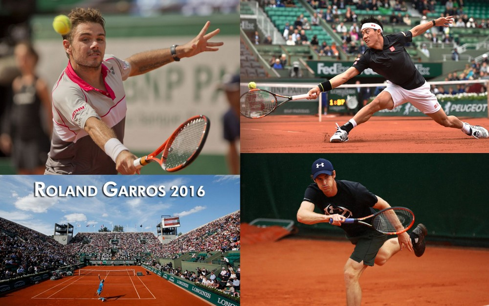 stan wawrinka kei nishikori and andy murray advance french open 2016 images
