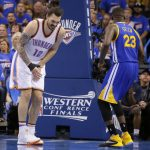 steven adams reacts to draymond green groin kick