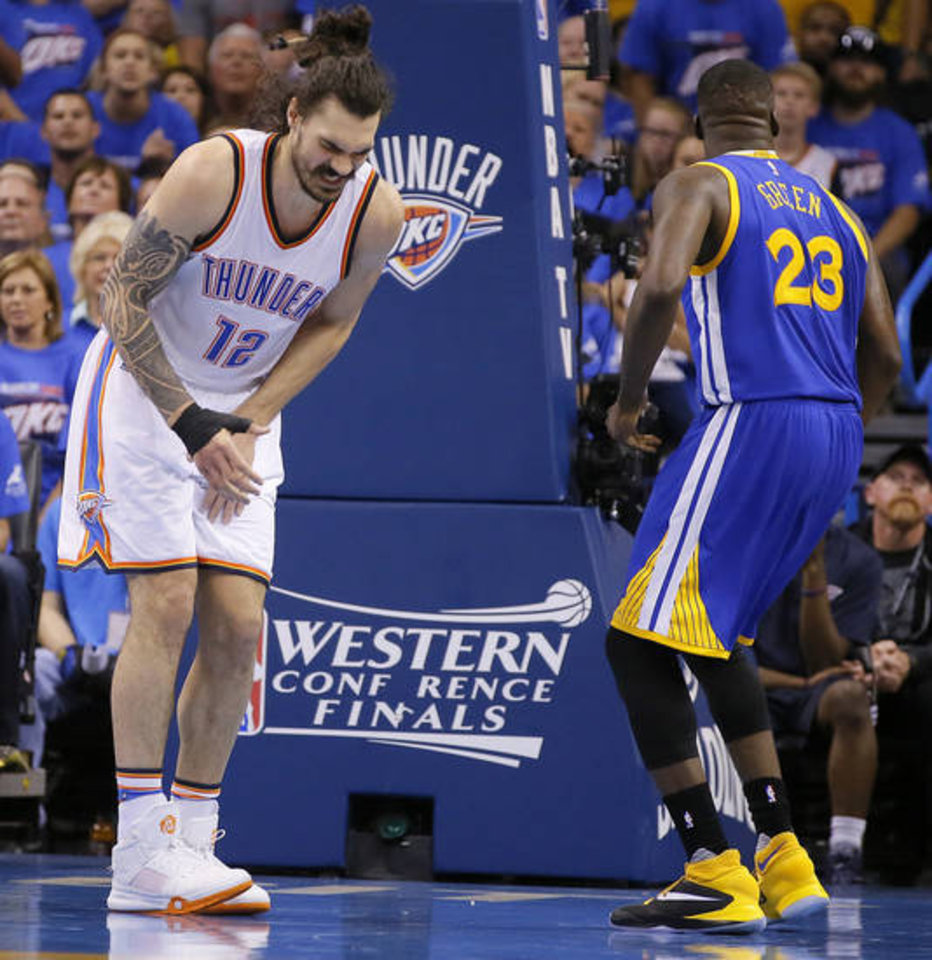 After Draymon Green second groin kick Steven Adams investing in iron clad cup 2016 images
