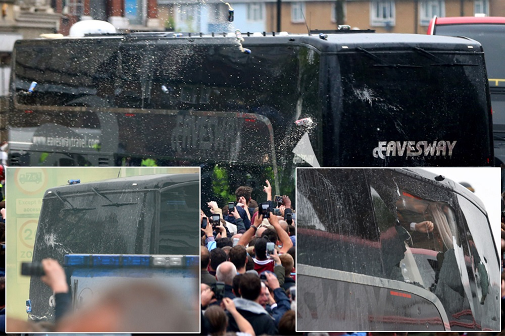 west ham fans hit manchester united bus during Premier League game 2016 images