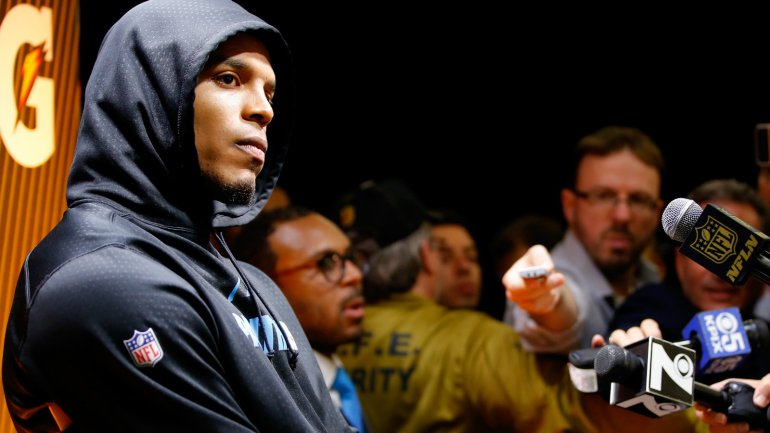 cam newton sulking post super bowl