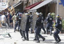 french police use tear gas on english soccer fans at european championship 2016 images