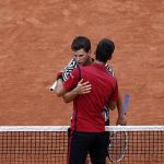 novak djokovic hugging dominic thiem at french open 2016