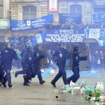 tear gas used by french riot gear police