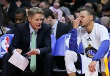warriors steve kerr and stephen curry hit with NBA finals game 6 fines 2016 images