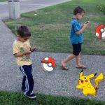 kids playing walking pokemon go