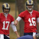 case keenum keeping jared goff on his toes with la rams
