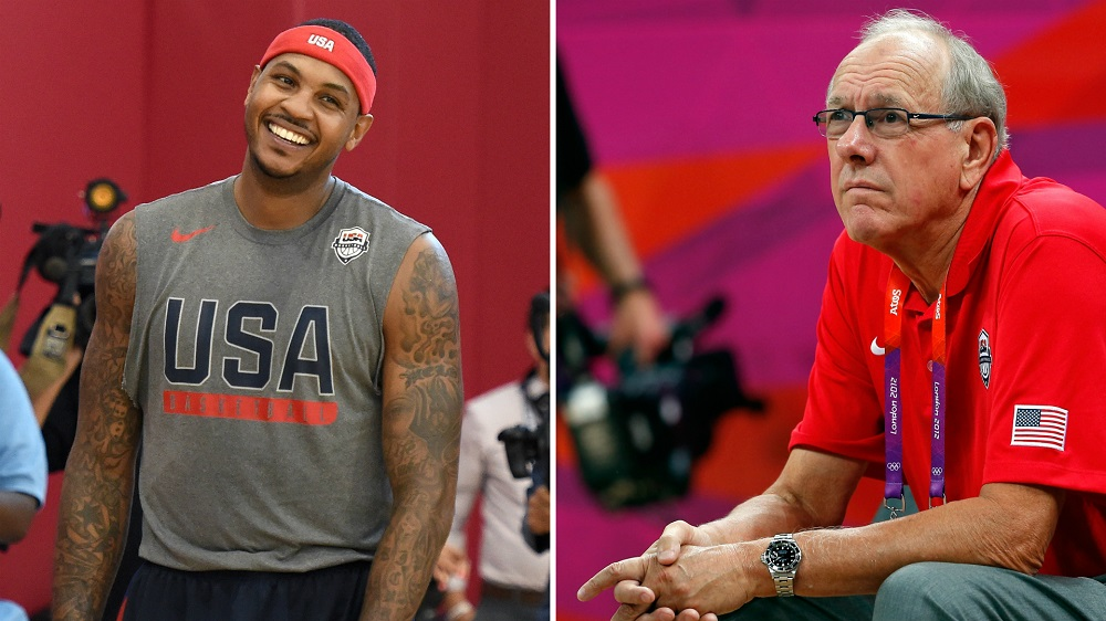 coach jim boeheim not expecting win from carmelo anthony 2016 images