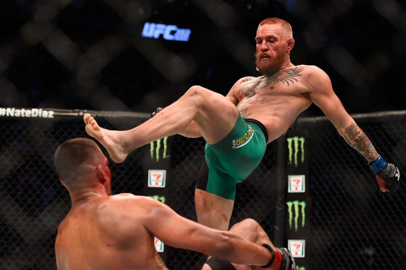 conor mcgregor leg pound on nate diaz ufc 202