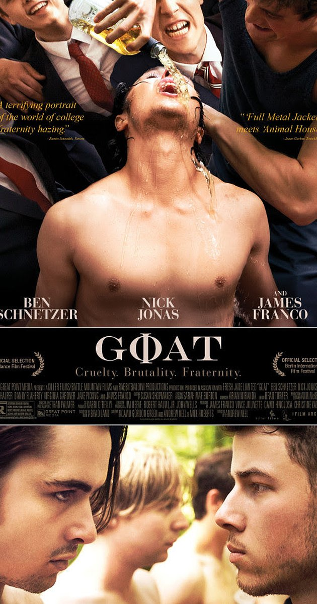 goat frat pledgest tied together undressed