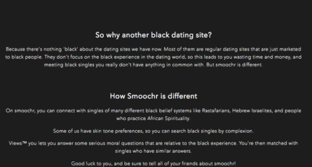 how smoochr is different from black dating sites