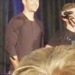 jensen ackles smiling at concert