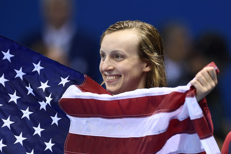 katie ledeckey with flag for rio olympics
