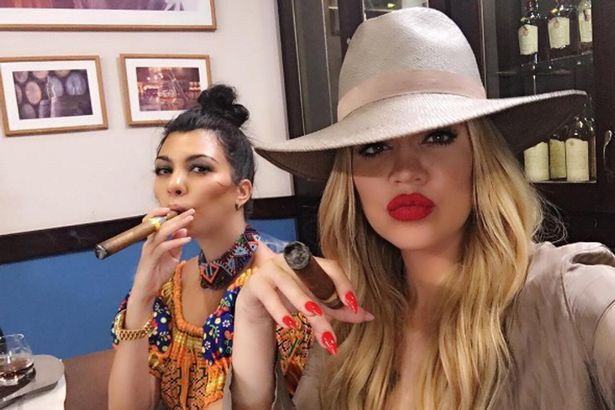 kourtney kardashian smoking cigar with khloe