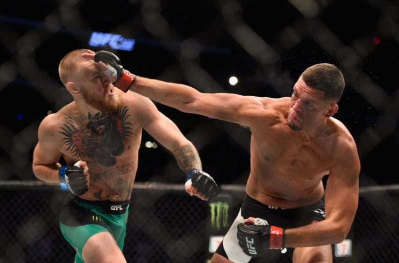 nate diaz slamming conor mcgregor head ufc 202