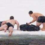 nick jonas and bear grylls wet underwear on ice 2016