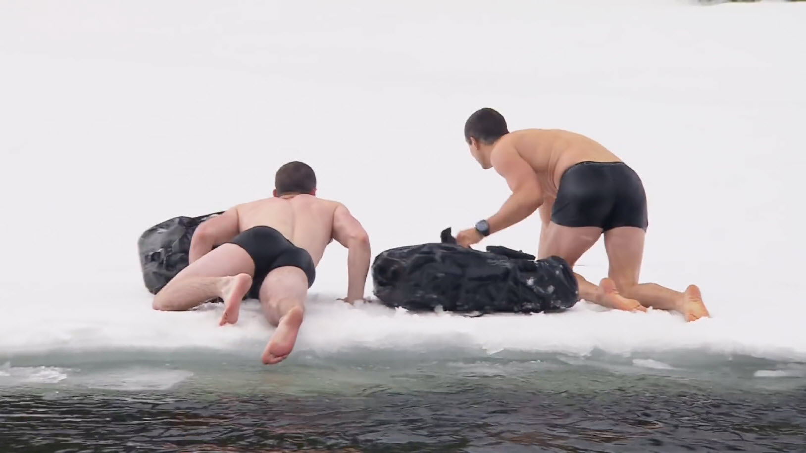 nick jonas and bear grylls wet underwear on ice 2016