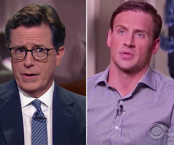 stephen colbert shows ryan lochte interview as we did
