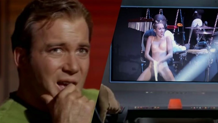 captain kirk with miley cyrus twerking