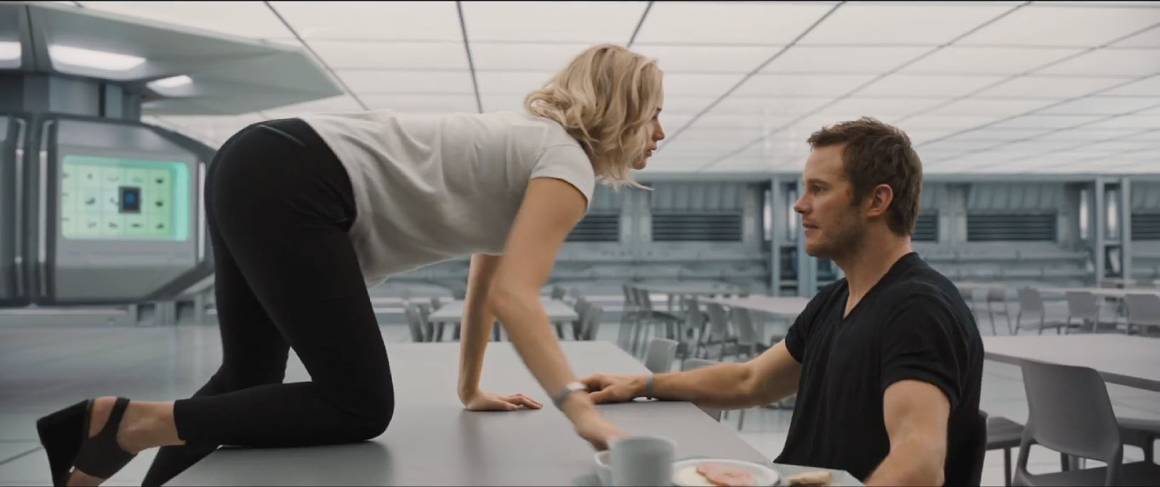 passengers jennifer lawrence crawling for chris pratt