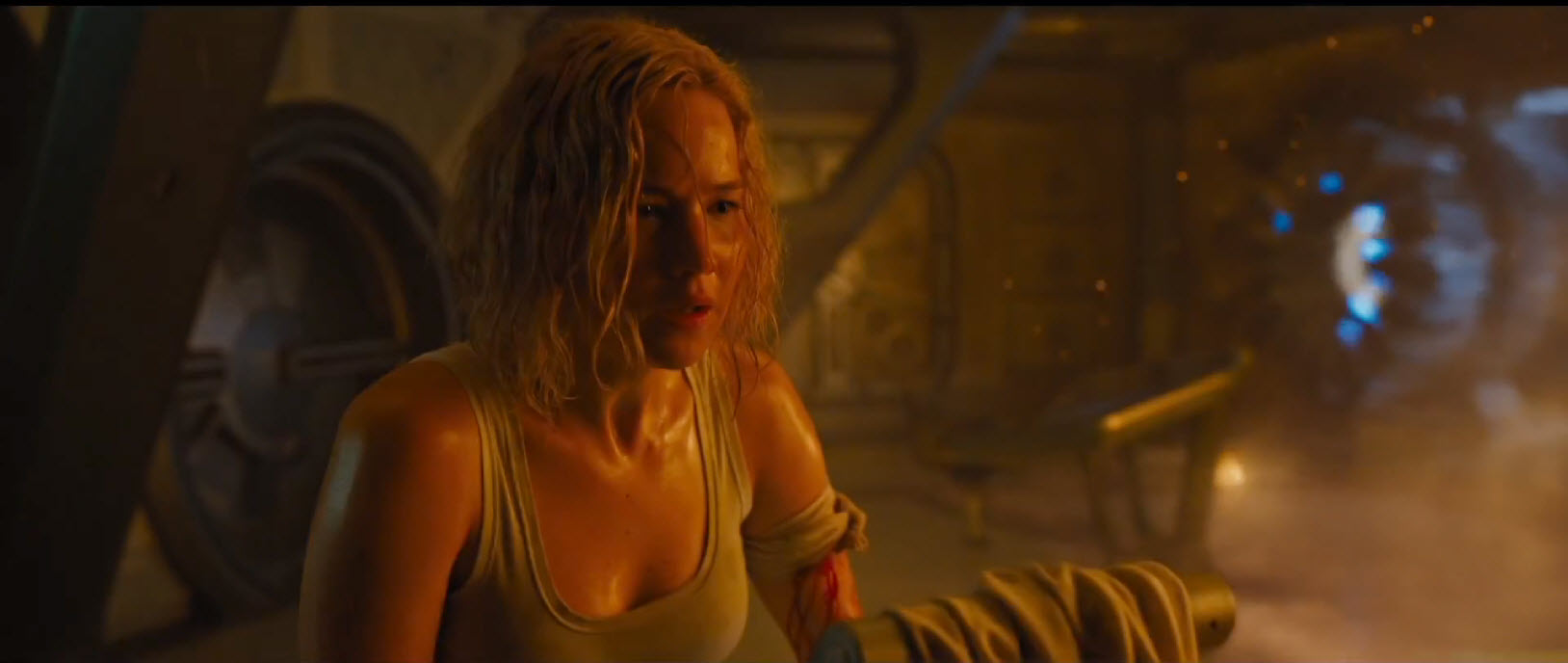 passengers jennifer lawrence sweaty