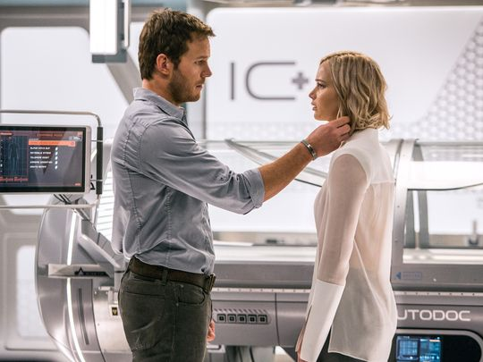 passengers with chris pratt holding jennifer lawrence