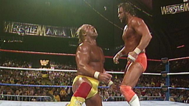 wrestlemania iv randy savage on hulk hogan