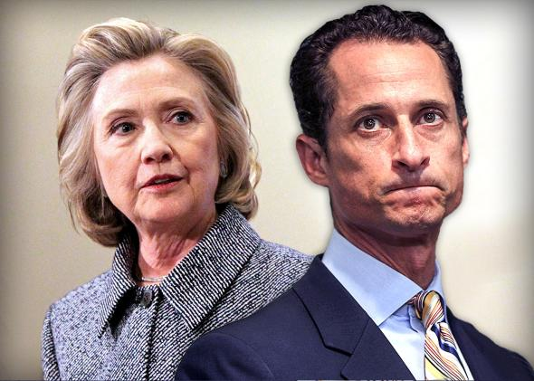 anthony weiner sticks is to another women with hillary clinton