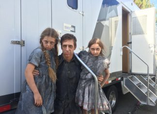 cam grierson outside trailer on supernatural set