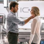 chris pratt touching jennifer lawrence in passengers
