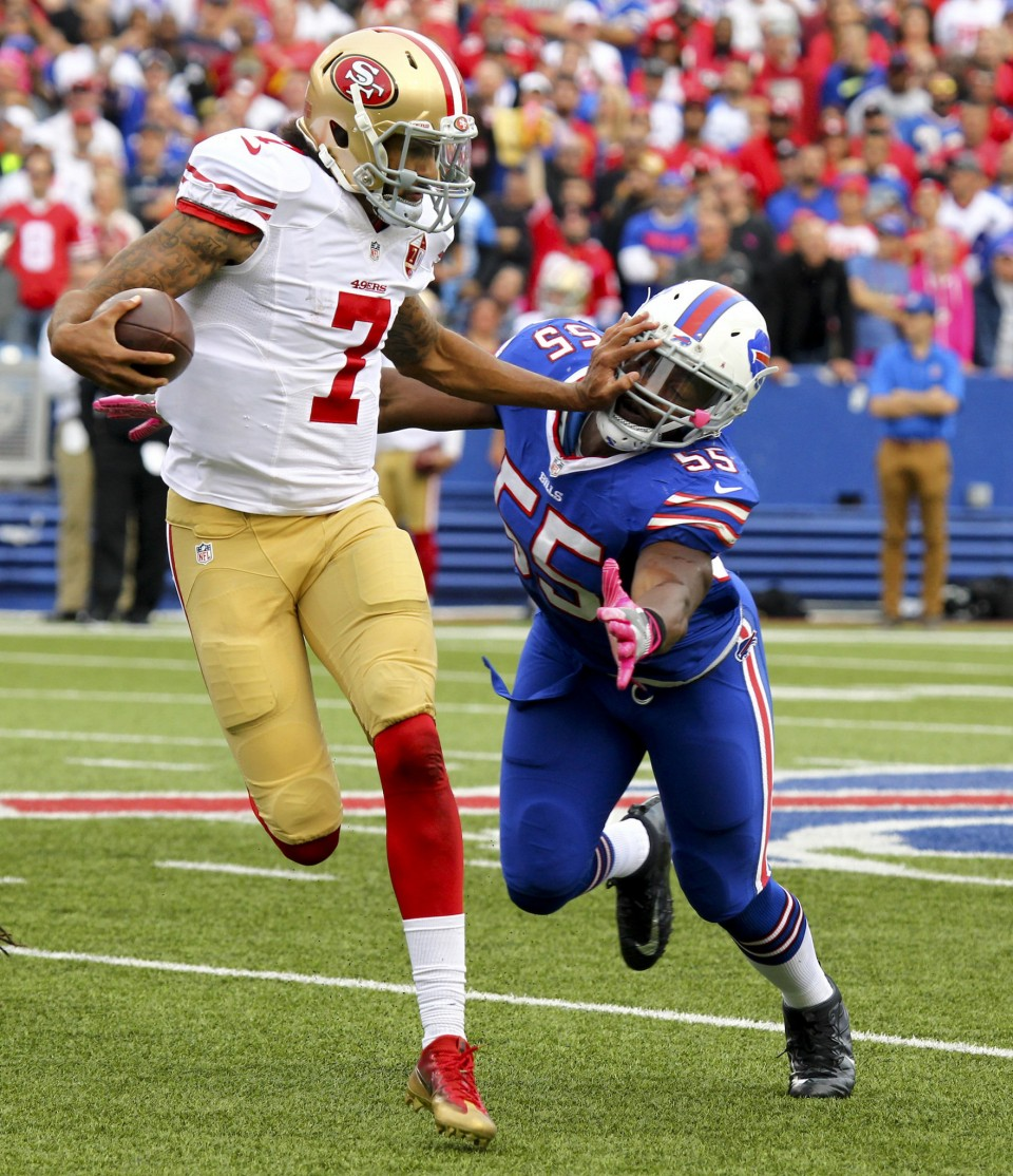 colin kaepernick fighting off bills jerry hughes