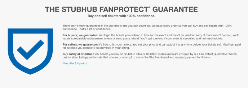 stubhub fan protect guarantee