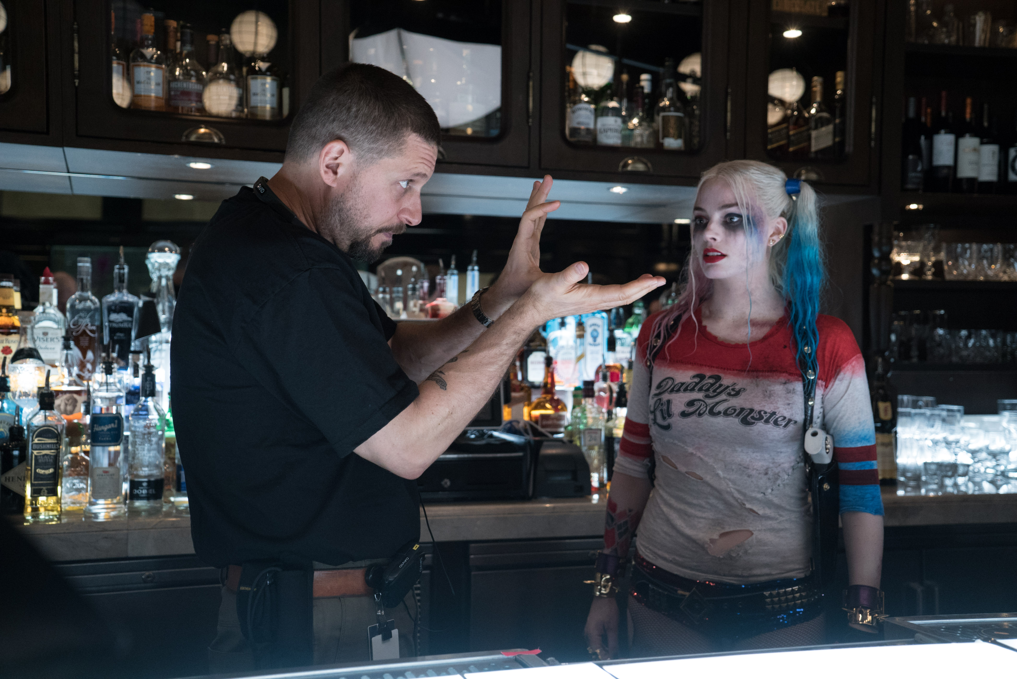 suicide squad set photo david ayer margot robbie