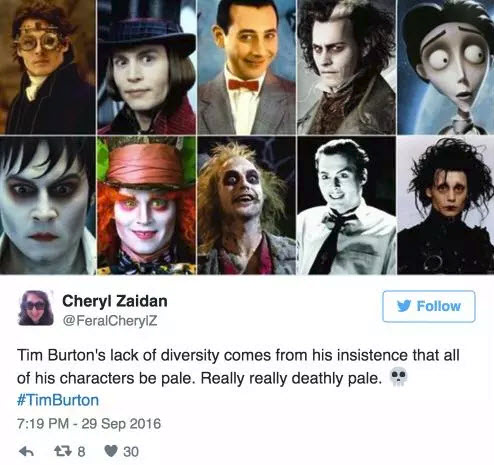 tim burton zero for lack of diversity