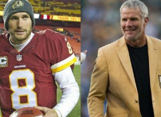 brett favre gives kirk cousins big love over packers win 2016 images