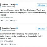 donald trump ford tweet