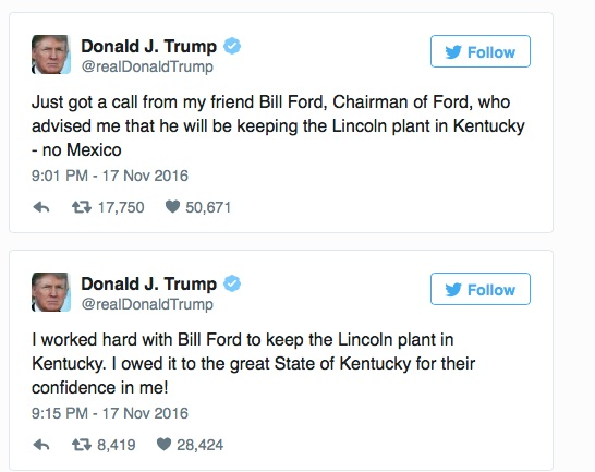 donald trump ford tweet