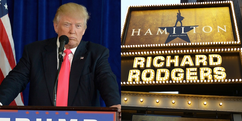 donald trump only one up in arms over hamilton