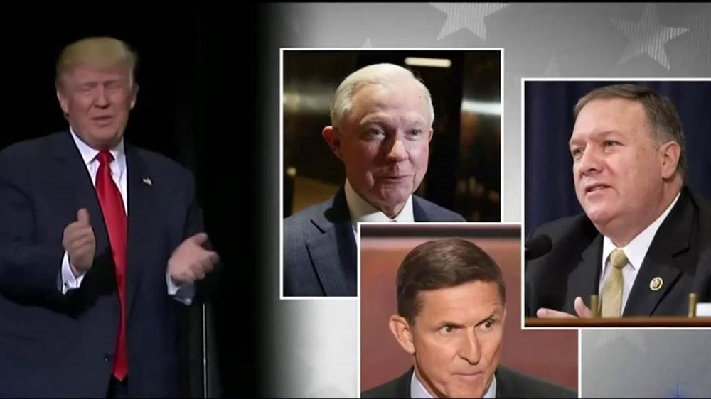 Donald Trump veers hard right with Jeff Sessions and Mike Pompeo 2016 images