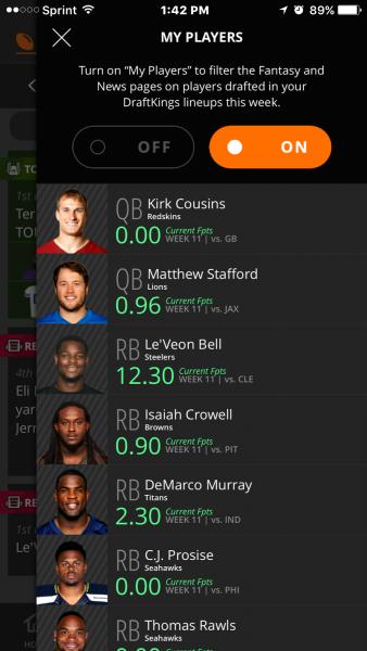 draftkings filter app