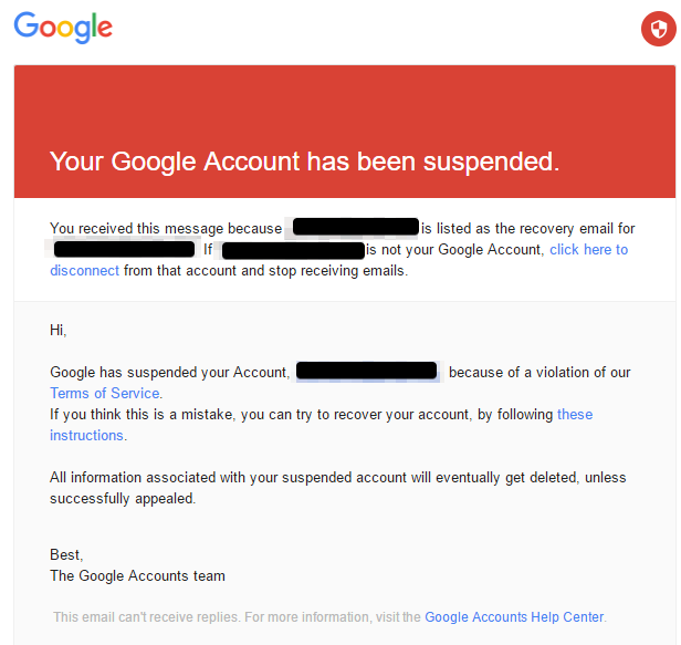 google suspended pixel reseller accounts