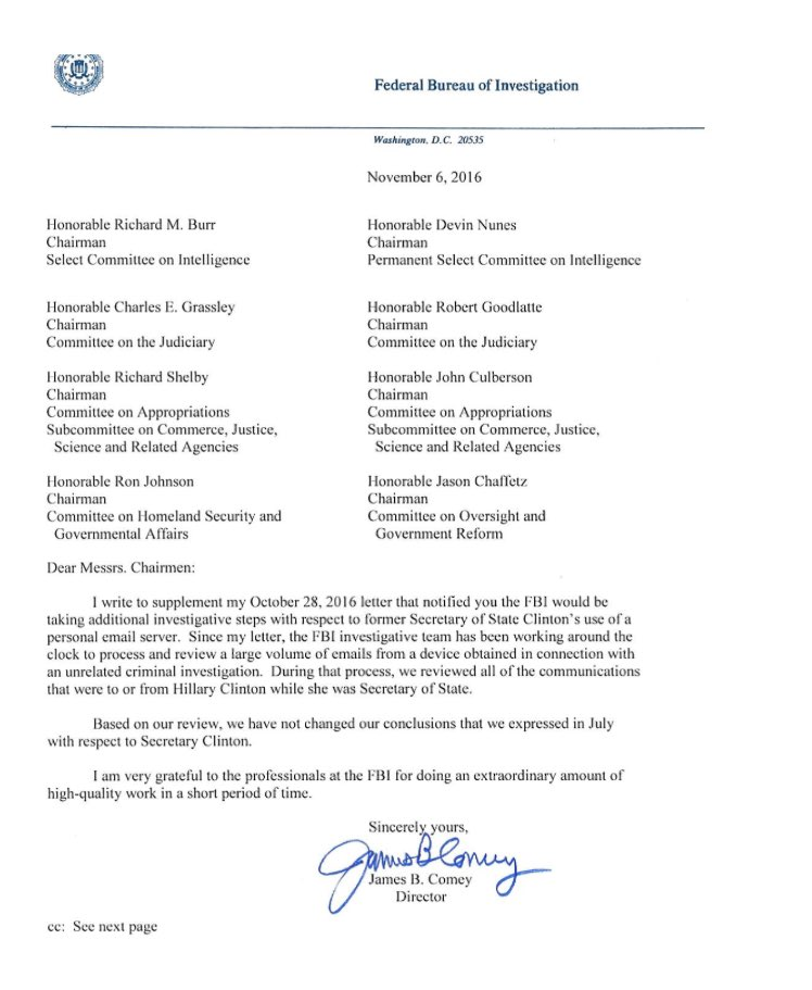 james comey retraction letter fbi on hillary clinton