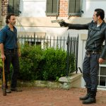 the walking dead negan pointing gun at rick