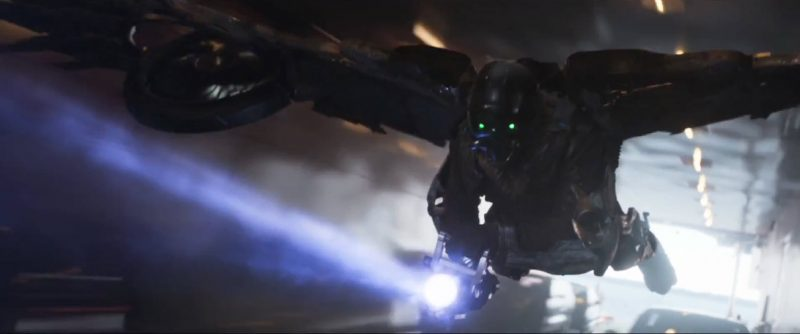 green eyed monster flying in spider man homecoming movie