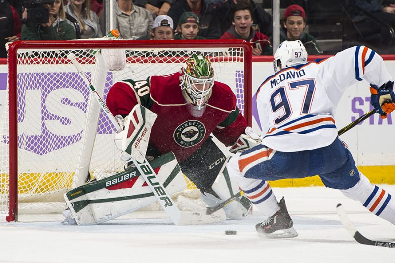 minnesota wild devan dubnyk vs connor mcdavid nhl
