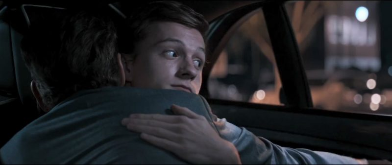 peter parker hugging tony stark accident spider man homecoming