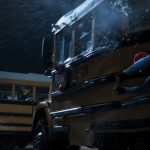 spider man homecoming thrown against bus